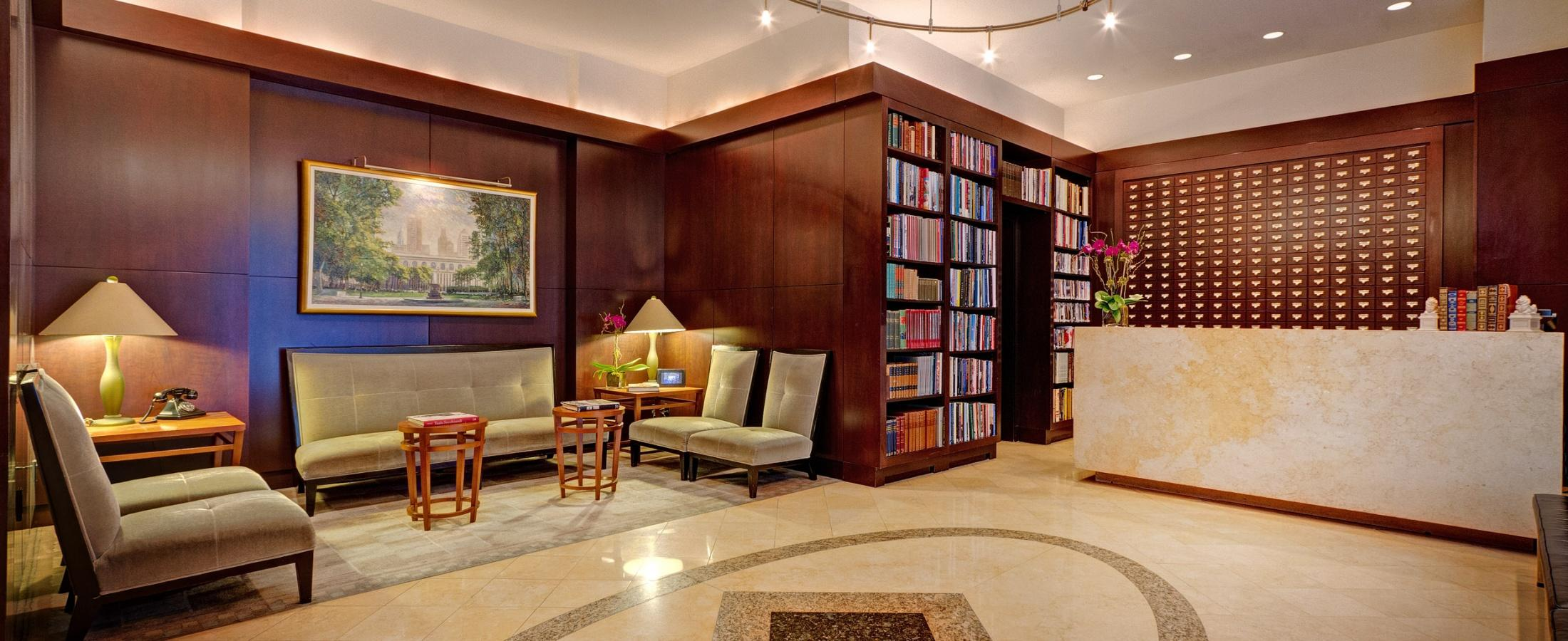 The Library Hotel is home to over 6,000 books throughout our entire hotel and you will find a quarter of them in our hotel lobby.
