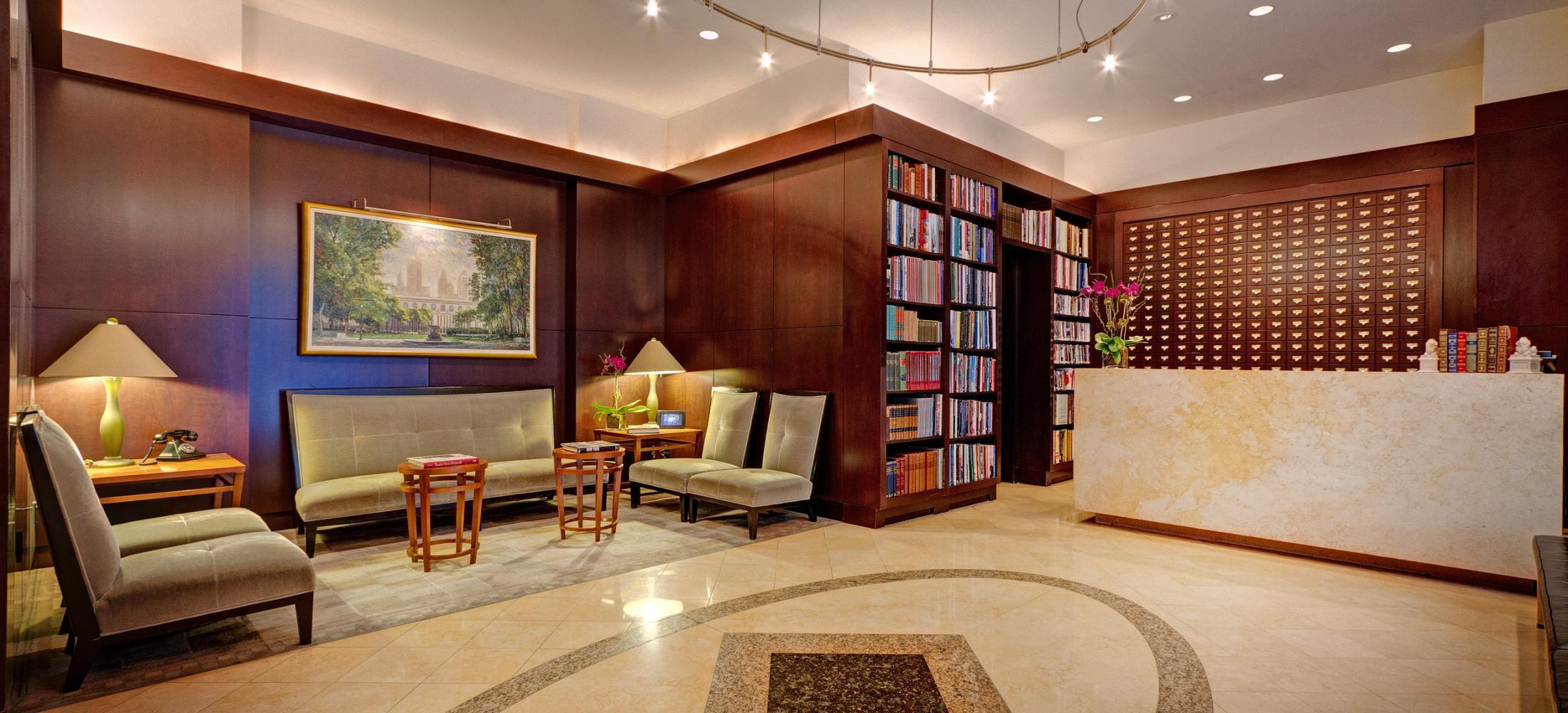 Library Hotel is centrally located in Midtown Manhattan, within walking distance to many of New York City's top attractions, and around the corner from all forms of public transportation.