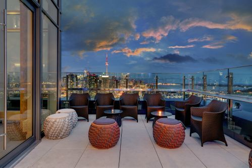 Views of Downtown Toronto from The Nest's terrace at Falcon SkyBar