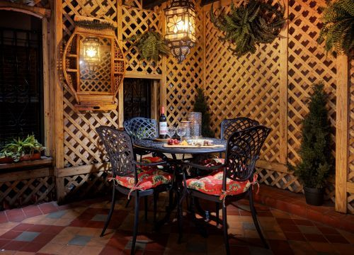 Blue Parrot Courtyard at the Casablanca Hotel is the perfect place for breakfast or wine and cheese