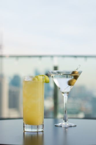 Cocktails at Falcon Skybar, including the Signature Falcon Goddess
